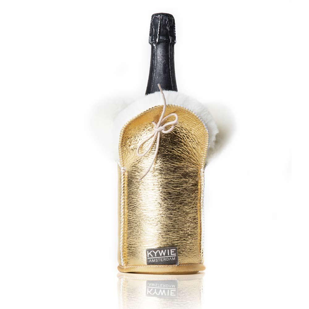 Etui isotherme à Champagne Sparkle Cuir Or 10×23 cm Kywie