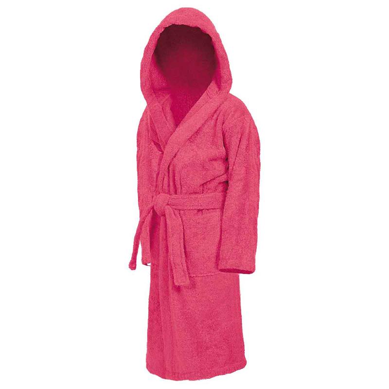 Peignoir éponge enfant à capuche rose indien Sensei