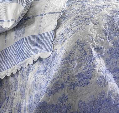 Couvre lit Pastorale bleu Aude de Balmy