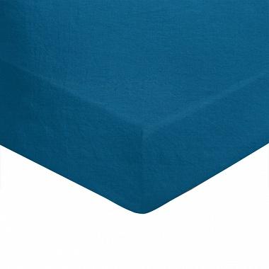 Drap housse Louxor Bleu paon Blanc des Vosges
