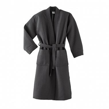 Peignoir kimono Manoir Anthracite Blanc des Vosges