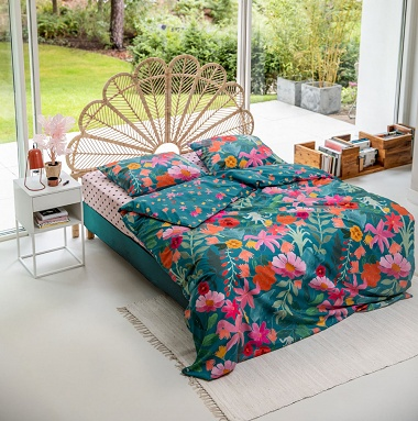 Parure de couette Power Flower petrol Cover & Co