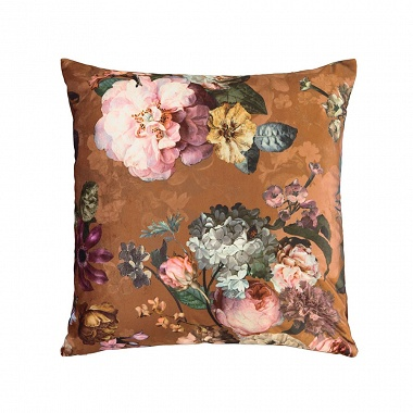 Coussin Fleurs Leather Brown Essenza