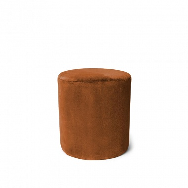 Pouf Furry Leather Brown Essenza