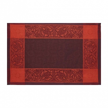 4 Sets de table Otto­mane Burgundy Jacquard Français