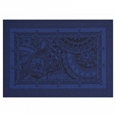 4 sets de table porce­laine bleu de chine Jacquard Français