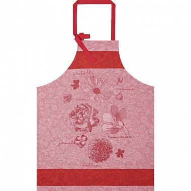 Tablier fleurs à croquer rouge Fleur Jacquard Français