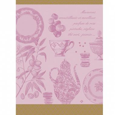 Torchon Macarons rose Jacquard Français