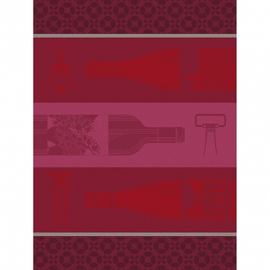 Torchon Vin en Bouteille Rouge Jacquard Français