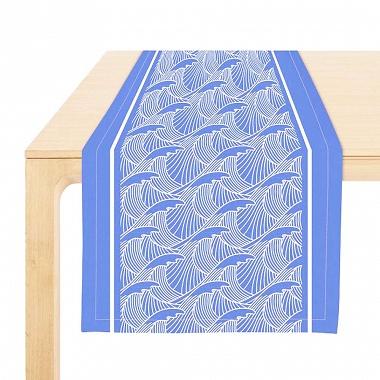 Chemin de table Bilbatu Vagues Bleu Jean Vier