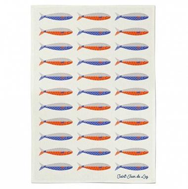 Essuie-mains Koadro Sardines rouge/bleu Jean Vier