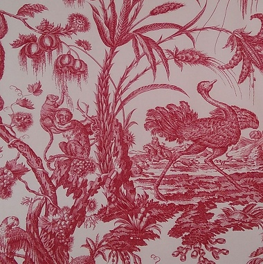Tissu Singes & Autruche Rouge/Ecru Les Olivades