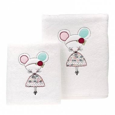 3Serviettes de toilette Sourisette rose Sensei