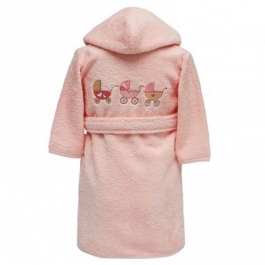 Peignoir capuche landeau rose poudre Sensei