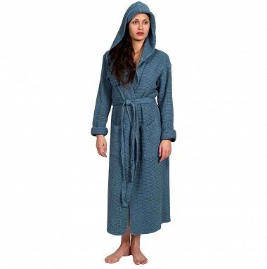 Peignoir Femme à Capuche Bohem Blue Jean Sensei