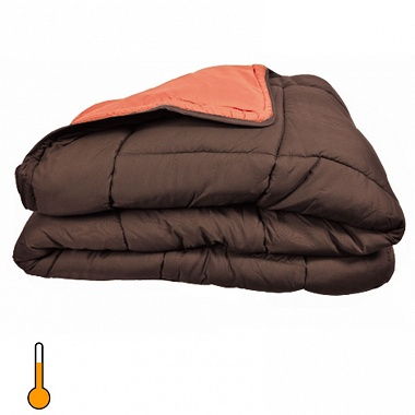 Couette cocoon bicolore 400gr choco/corail toison d'or