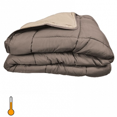 Couette cocoon bicolore 400gr taupe/lin toison d'or