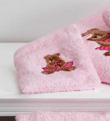 6gants de toilette Ourson Girl Rose Tradition des Vosges