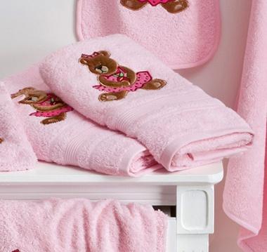 Serviettes de toilette Ourson Girl Rose Tradition des Vosges