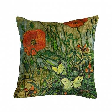 Coussin Coquelicot vert Van Gogh
