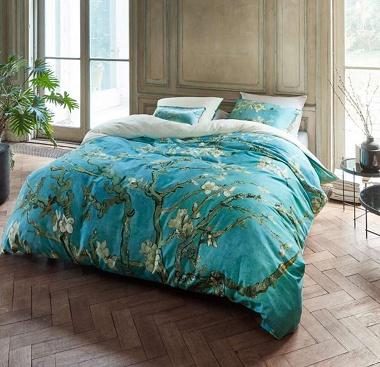Parure de couette Amandiers en fleurs bleu Van Gogh