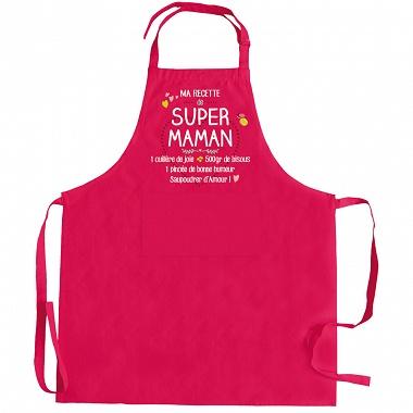 Tablier ma recette de super Maman rose Winkler