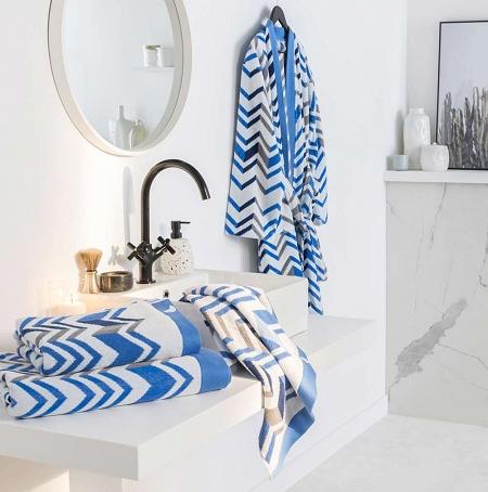Serviette de toilette Ecume Bleu 50×100cm Drouault