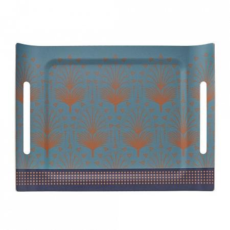 Plateau Cabaret Paon 58×42cm Jacquard Français