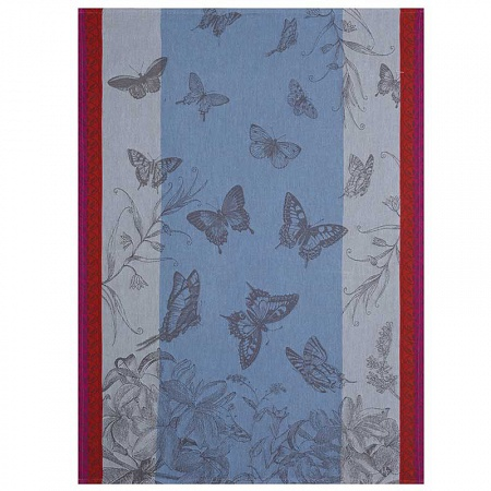 Torchon jardin des papillons muscaris 60×80cm Jacquard Français