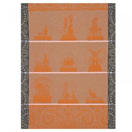 Torchon Souvenirs Orange 60×80cm Jacquard Français