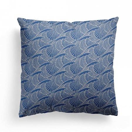 Housse de coussin Vagues Bleu 40×40cm Jean Vier