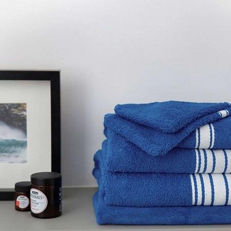 Serviette de toilette Grand Hôtel inverse Bleuet 50×100cm Jean Vier
